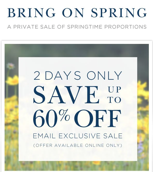 2 days only - SAVE up to 60% OFF