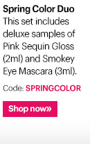 Keep it simple and fresh with a touch of lip gloss and mascara. This set includes deluxe samples of  Pink Sequin Gloss (2ml) and Smokey Eye Mascara (3ml).  Code: SPRINGCOLOR