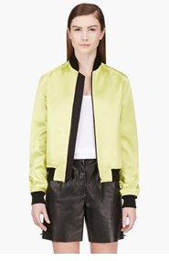 JONATHAN SAUNDERS Acid Green Bomber Jacket for women
