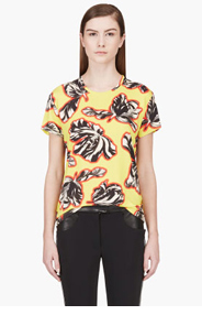 JONATHAN SAUNDERS Yellow Floral Print Crewneck T-shirt for women