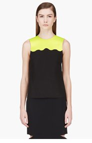 JONATHAN SAUNDERS Acid Green & Black Sleeveless Blouse for women