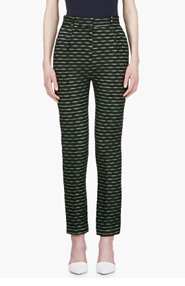 JONATHAN SAUNDERS Green & Black JACQUARD CELESTE TROUSERS for women