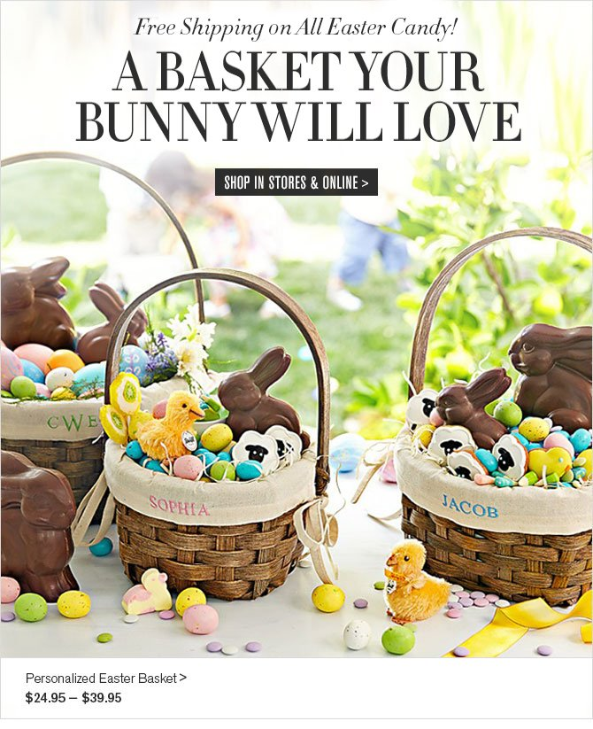 Free Shipping in Time for Easter! - A BASKET YOUR BUNNY WILL LOVE - SHOP IN STORES & ONLINE - Personalized Easter Basket - $24.95 - $39.95