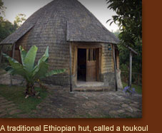 A traditional Ethiopian hut, called a toukoul