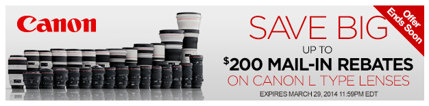 Ending Soon: Up to $200 Mail-in Rebates on Canon L Type Lenses