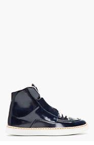MAISON MARTIN MARGIELA Navy Patent Leather High-Top Sneakers for men