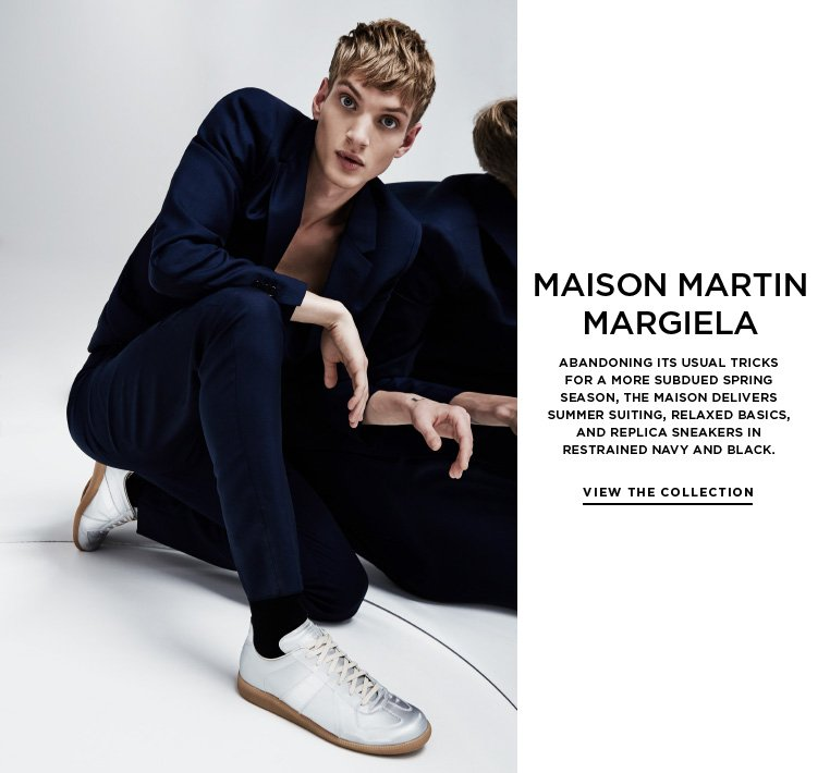 Classic casual from Maison Martin Margiela Abandoning its usual tricks for a more subdued Spring season, the Maison delivers summer suiting, relaxed basics, and Replica sneakers in restrained navy and black.