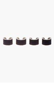 MAISON MARTIN MARGIELA Black Leather & Silver-Tone Four-Ring Set for men