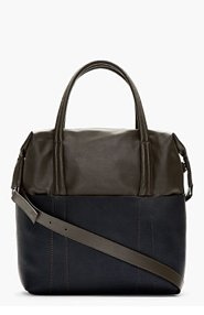MAISON MARTIN MARGIELA Grey & Navy Colorblocked Leather Tote for men