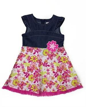Sugah & Honey Flower Print Denim Inlaid Junior Girl's Dress