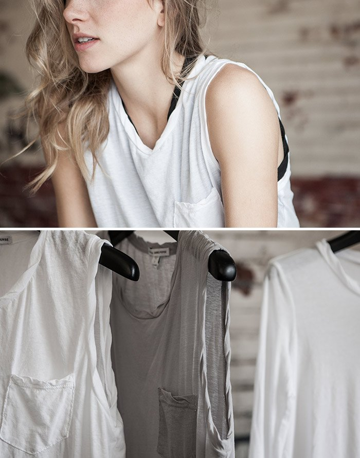 JAMES PERSE LOS ANGELES - HIGH GAUGE STRETCH JERSEY SHELL TANK