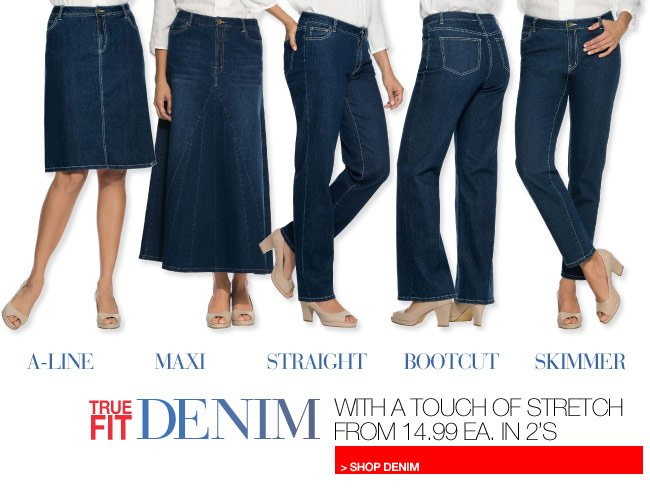 True Fit Denim with a touch of stretch from 14.99 each in 2's - shop denim