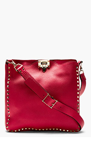 VALENTINO Deep fuchsia Leather Studded HOBO bag for women