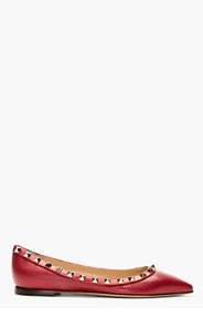 VALENTINO Red Leather Studded Ballerina Flats for women