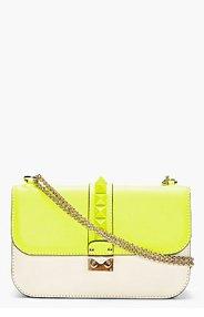 VALENTINO Chartreuse & Ivory Leather Studded Shoulder Bag for women