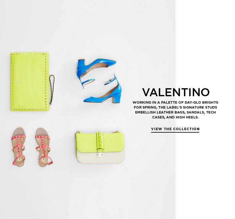 Day-glo accessories from Valentino Working in a palette of day-glo brights for Spring, the label's signature studs embellish leather bags, sandals, tech cases, and high heels.