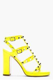 VALENTINO Neon Yellow Multi-Strap Rockstud Heeled Sandals for women