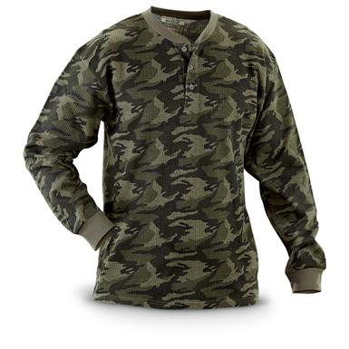 2 Camo Long-sleeved Thermal Henley Shirts