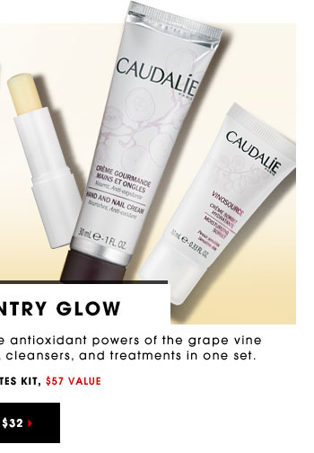 WINE COUNTRY GLOW New. Limited-edition. Caudalie uses the antioxidant powers of the grape vine for glowing skin. Try luxurious creams, cleansers and treatments in one set. Caudalie Favorites Kit, $57 Value ONLY $32