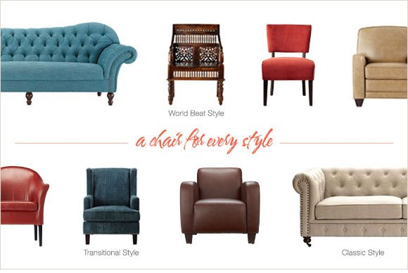 a chair for every style | World beat style, Transitional Style, Classic Style