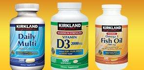 Kirkland Signature Daily Multi, Omega-3 Fish Oil or Vitamin D3 2,000 I.U. Softgels