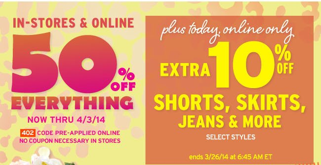 extra 10% off bottoms