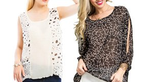 Chic Black & White Plus Tops