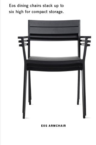 Eos dining chairs stack up to six high for compact storage. EOS ARMCHAIR