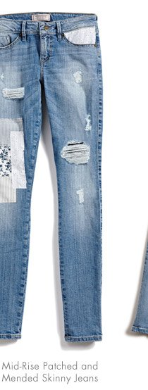 MID-RISE PATCHED AND MENDED SKINNY JEANS