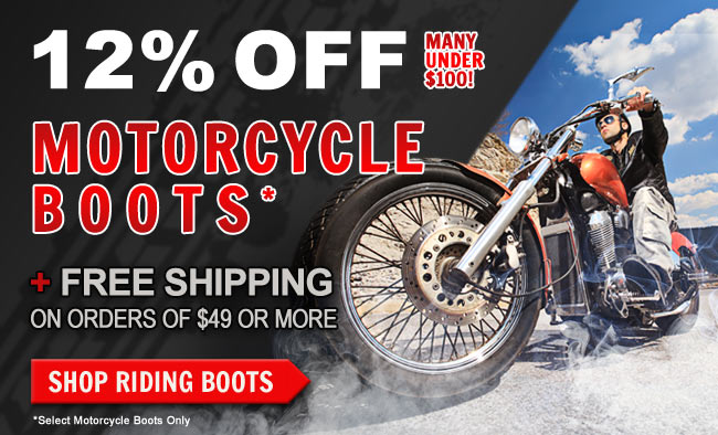 Get 12% OFF Select Motorcycle Boots + FREE Shipping This Week!