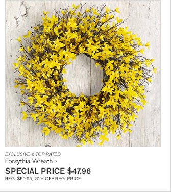 EXCLUSIVE & TOP-RATED - Forsythia Wreath - SPECIAL PRICE $47.96 - REG. $59.95, 20% OFF REG. PRICE