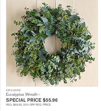 EXCLUSIVE - Eucalyptus Wreath - SPECIAL PRICE $55.96 - REG. $69.95, 20% OFF REG. PRICE