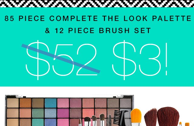 85 Piece Complete The Look Palette & 12 Piece Brush Set