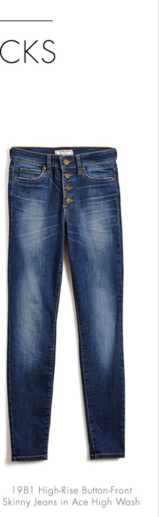 1981 HIGH-RISE BUTTON-FRONT SKINNY JEANS IN ACE HIGH WASH