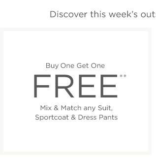 Buy 1 Get 1 Free Men's Suits & more