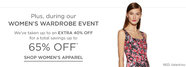 Up to 65% off Women's Apparel