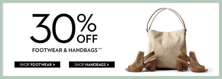 30% off footwear & handbags**