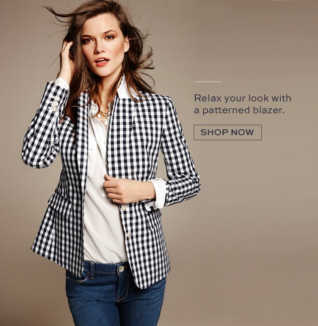 Relax your look with a patterned blazer. | SHOP NOW