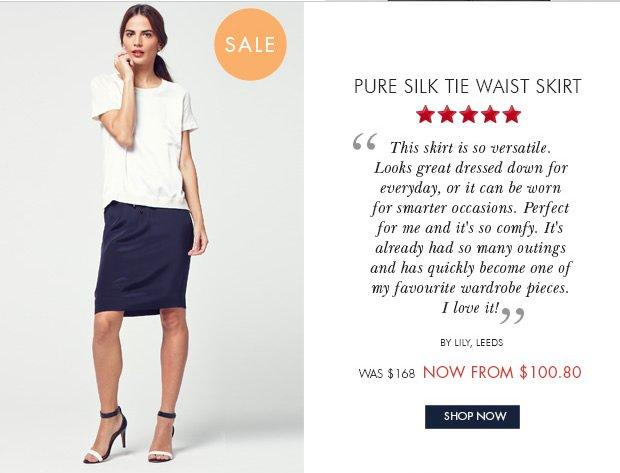 Download Images: Shop Pure Silk Tie Waist Skirt