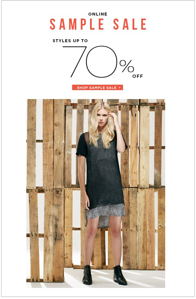 Enjoy Early Access to Our Online Sample Sale: Styles Up to 70% Off