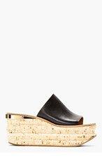 CHLOE Black Leather & Cork Naim Platform Mules for women