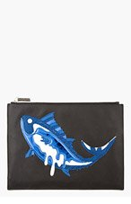 KENZO Black & Blue Patchworked Fish Pouch for women