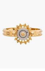 ALEXANDER MCQUEEN Gold & Silver Flower Burst Skull Flower Bracelet for women