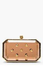 ALEXANDER MCQUEEN Amber Studded Plexi Small Box Clutch for women