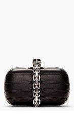 ALEXANDER MCQUEEN Black Leather Chain Skull Box Clutch for women