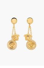 VERSACE Gold & Crystal Medusa Charm Earrings for women