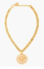 VERSACE Matte Gold & Crystal Medallion necklace for women