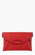 GIVENCHY Red Leather Small Antigona Envelope Clutch for women