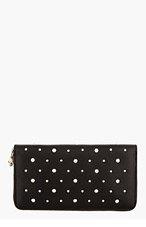 ALEXANDER MCQUEEN Black Leather New Studs Continental Zip wallet for women