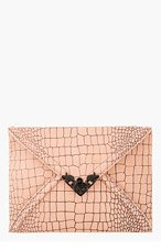 MCQ ALEXANDER MCQUEEN Rose Croc Etched Leather Envelope Clutch for women
